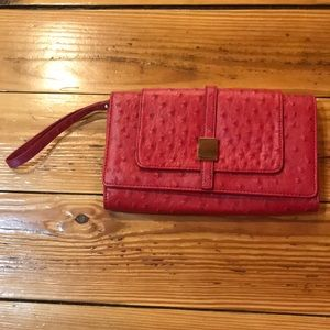 Red The Limited Clutch with gold accents